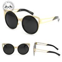 5 Colors Round Frame Cat Eye Coating Glasses 2014 New Vintage Fashion Summer Sunglasses Women Brand Designer oculos de sol