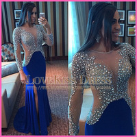 Sexy See Through Scoop Neck Crystal Beading Nude Tulle Royal Blue Chiffon Mermaid Long Prom Evening Dresses 2015