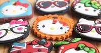 4PCS Kawaii Hello Kitty Designs MIX Rubber KEY Cover Chain Holder ; Pendant Hook ; Cap Case Key Coat Wrap Coat Cover