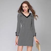 2014 brand new fashion temperament Autumn winter women V-neck long-sleeved A-line dress vintage Houndstooth casual Dress L-4XL