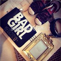 2014 new metal letter word Mos McDonald's fashionable European style alphabetical BAD GIRL clutch shoulder bag small bag handbag