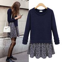 2014 autumn new fashion European and American women stars fake two-piece print long-sleeved knit dress XL-5XL