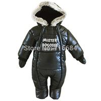 2014 6-18 month wear resistant waterproof black comme papa letters winter warm thermal baby footies jumpsuit warm for newborns