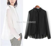 2014 New Women's Trendy Small Lapel Spliced Asymmetric Irregular Pleated Back Long Sleeve Shirts Casual Sheer Semi Blouse Tops