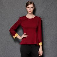 European and American style women's 2014 Autumn new fashion soild simple round neck shirt swallowtail XL-4XL