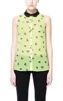 2014 new women's imitate leather swallow printed chiffon shirt sleeveless women casual chiffon blouse B024