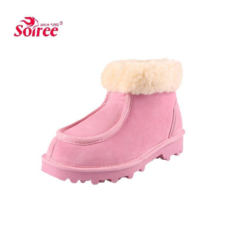 Couro genuíno Soiree lã mulheres neve do inverno botas crosta grossa em idosos confortável interior e ao ar livre sapatos quentes(China (Mainland))