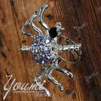 No min order,one piece fashion spider women's adjustable metal sparkling rhinestone finger ring xydr202