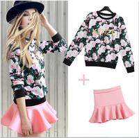 E-Unique New 2014 Autumn Winter Women Rose Print Pullover Sweatshirt High Waist Expansion Bottom Short Skirt Set Twinset WWB07