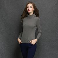 Autumn and winter 2014 new fashion women plus size soild  color shirt -sleeved cotton t-shirt  XL-4XL