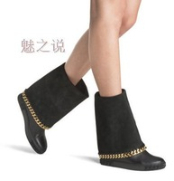Women Boots Knee High Turn Over Autumn Boots Golden Chains Gladiator Boots Free Shipping