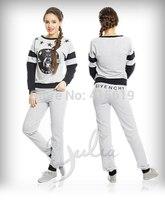 Mini Gum New 2014 women fashion 2pcs tracksuit sportwear gold skull print long sleeve hoody sweatshirt s m l
