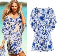 D05*New Casual Blue&White Porcelain Printed Loose Plus Size Batwing Sleeve Sexy Summer Bohemian Dress Women's Holiday Dresses
