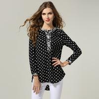 2014 new antumn fashion European and American retro blouse stitching chiffon casual blouse plus size L-4XL