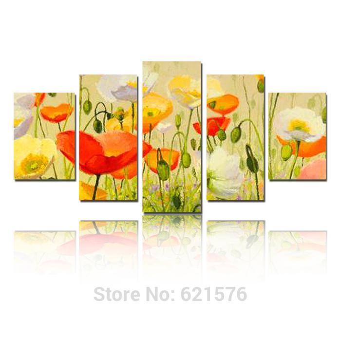 Pintado à mão modern arte imagem para sala de estar decoração de pintura a óleo sobre tela abstrato colorido flor da papoila de milho(China (Mainland))