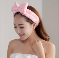 [alice] free shipping 2014 Korean coral velvet pretty bowknot leash face wash mask are girls headband hair band hair ribbon lady
