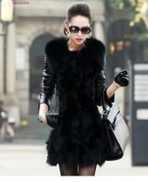 2014 New arrival Womens faux fur coat leather outwear long sleeve thicken black jacket plus size winter coat women