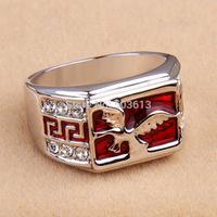 No min order.one piece fashion animal enamel alloy stone men's 18/19/20 finger ring xydr200
