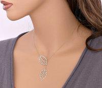 New Fashion Vintage Big Leaf Pendant Necklace Clavicle Chain Beautiful Elegant charm leave Necklace jewelry Women Wholesale KJ02