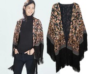 2014 Fashion Women Summer Tassel on Sleeve Kimono Cardigan blouse European Style Floral Print thin coat kimonos l047