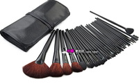 6001 Black Makeup Brush Brusher 32 Pcs/set  High Quanlity wooden handle Professional Cosmetic Set Kit With Leather Bag