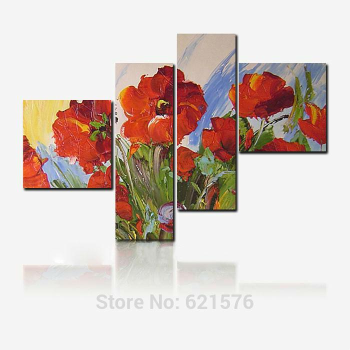 Pintado à mão modern arte imagem para sala de estar decoração da abstrato Red blooming flor da papoila de milho pintura a óleo sobre tela(China (Mainland))