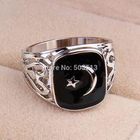 No min order, one piece popular zinc alloy men's US8/8.5/9/10 size hollow-out  black enamel Turkey flag ring xydr187