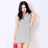 2014 new women's plus size Korean Slim chiffon blouse shirt Polka Dot women blouses
