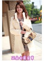 free shipping 2014 new winter imitation fur fashion faux fur collar coat of fur coat long slim