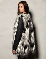 Wholesale in Europe and America major suit new winter color mixing woolly fur vest artificial fox hair long coat