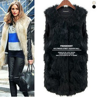 South Korea's official website with fashion all-match sleeveless solid color mixed color imitation fur vest