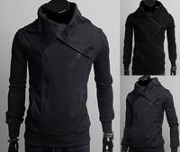 Free shipping casual cardigan slim hoody men multi zipper +button decoration  big collar men hoodies