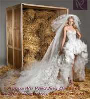 AWL3530 New Arrival Sweetheart Feathers Lace Front Short Long Back Tulle Wedding Dresses Custom made Size and Color 2-28