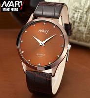 Nary Luxury Rhinestone Rose Gold Ultrathin Quartz Watches Leather Brand Watch Men Fashion Wrist Watch