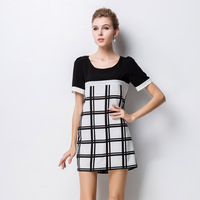 XL-4XL Brand Elegant Plus Size Ladies Black White Plaid Print Patchwork Casual Dress 2014 new summer fashion women clothing