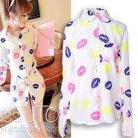 2014 autumn and winter new fashion lip printed chiffon blouses shirt women long-sleeve blusas casual women clothing