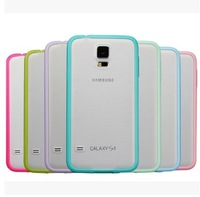 Lovely Color Scrub TPU+PC Transparent Edge Cell Phone Cases Cover For For Samsung i9600 Galaxy S5 Shell