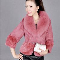 free shipping 2014 artificial Plush Faux Fur fox fur rabbit hair short paragraph seven wng jacket Haining fur