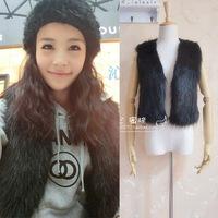 free shipping All-match single product black straight hair imitation fur vest fur shawl imitation imitation fur vest waistcoat