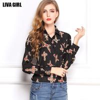 Blusas femininas 2014 women's loose plus size retro chiffon shirt  Cross printed long sleeve casual chiffon blouse