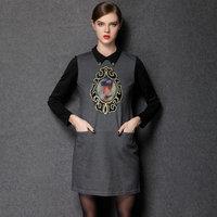 2014 new antumn fashion Europe and America style women Hitz plus size vintage doll collar dress pattern plus size L-4XL