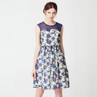 2014  hot summer fashion American style ladies new silm perspective gauze tutu flower print sleeveless dress plus size XL-4XL