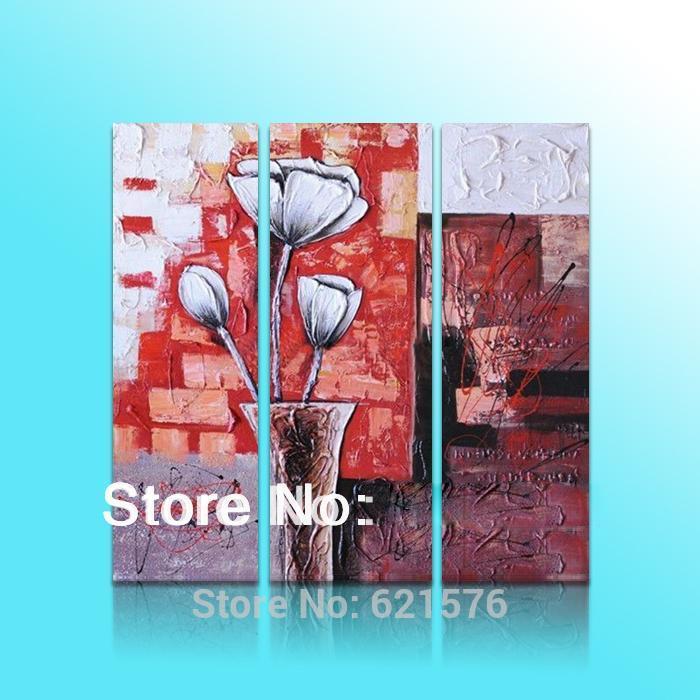 Parede moderna pintados à mão retrato da arte sala de estar decoração da abstrato pintura a óleo sobre tela branca papoila de milho vaso textura flor(China (Mainland))