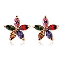 5 pcs Marquise-cut multicolored CZ  Zircon Sun Flower Stud Earring