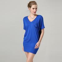2014 new hot fashion summer women's bat sleeve cotton mini soild color dress flouncing plus size M-3XL