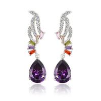 Romantic Zircon Angel Wings with Purple Austria Drop shaped Zircon Earring