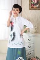 chinese jacket Linen china printing short asian sleeve Top blouse size 30-40 white 140907