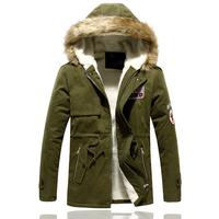 Men's cotton-padded jacket male medium-long lovers wadded jacket male cotton-padded jacket olive cotton-padded jacket thickening