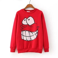 2014 new winter cartoon women sweatshirt printed long sleeved round neck hedging casual sweatshirts