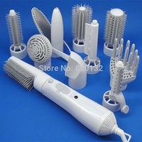 2014 New Arrival Multifunctional Hair Dryer 10 in 1 Electric Hair Curling Styling Straightener 110-240V Hair Curler Dryer
